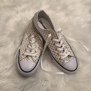 Converse Gold Polka Dot Canvas Low Top Sneakers